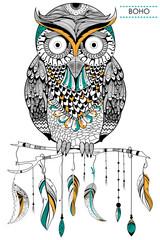 Panel Szklany Boho Tribal boho style owl