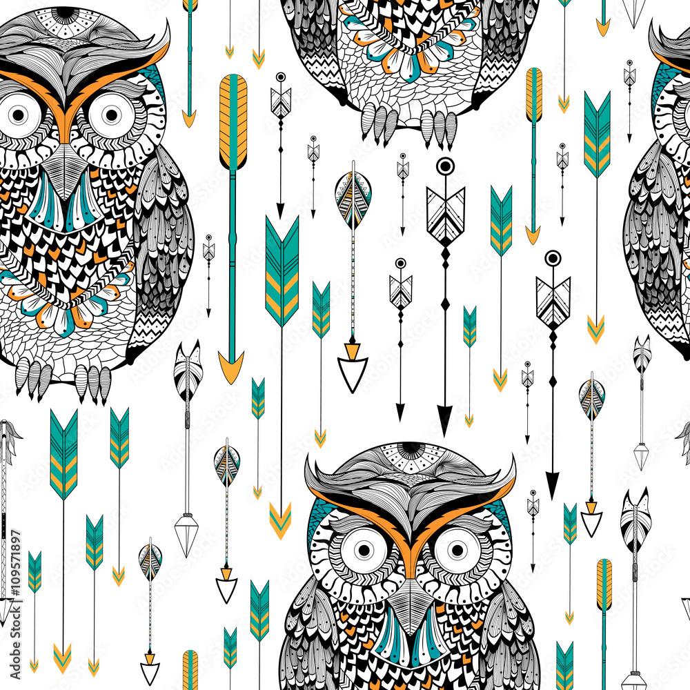Tribal boho style owl seamless pattern