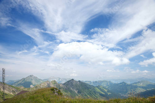 Fotografie, Obraz  The panoramic view of mountain summits in Alps