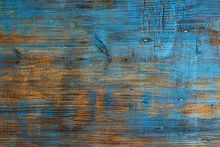 Old Wooden Background, Grunge Texture With Blue Paint And Nails