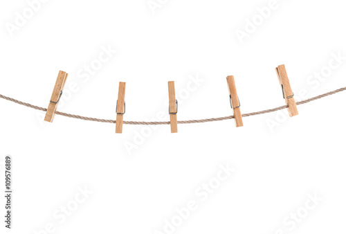 Fotografie, Obraz  clothespins on rope