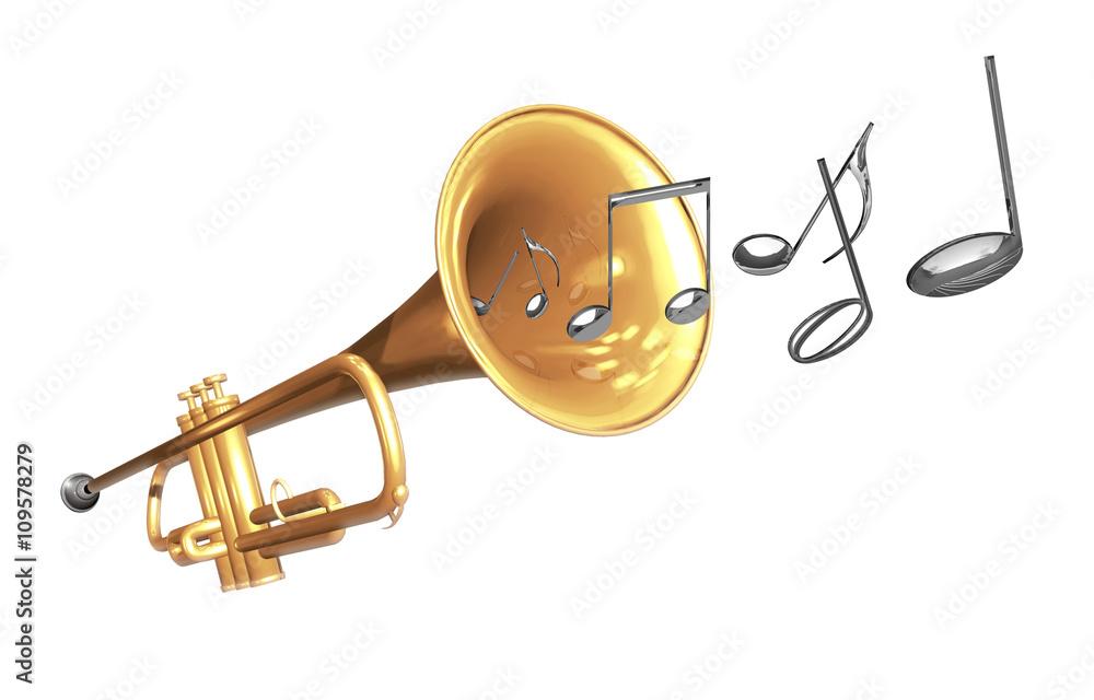 Trompete Mit Noten Und Notenschlüssel Freigestellt Foto Poster
