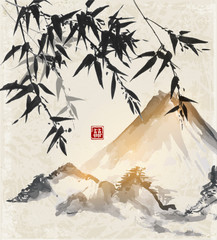 Panel Szklany Bambus Bamboo and mountains. Traditional Japanese ink painting sumi-e. Contains hieroglyph - double luck.