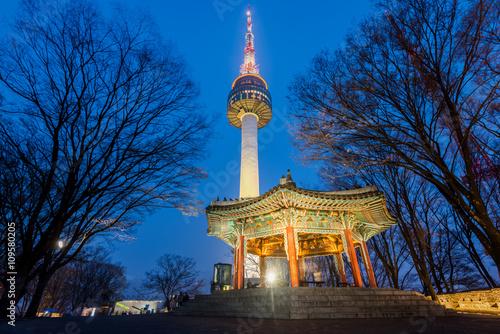 Namsan Mountain,Seoul tower at night in Seoul,South Korea Poster