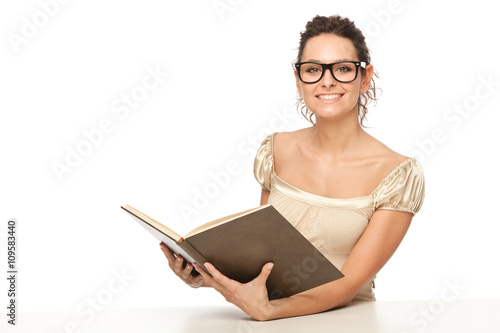 Beautiful Student Or Teacher Woman Study And Reading Book