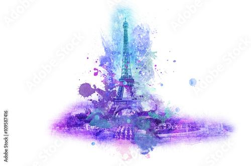 Eiffel tower splatter paint symbol