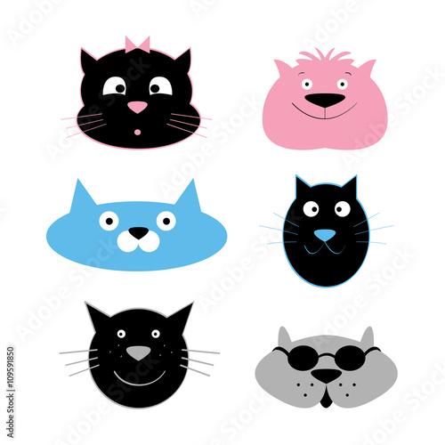 Cat Faces Vector Cartoon Characters Kaufen Sie Diese Vektorgrafik