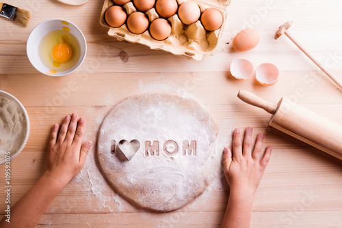 Fotografie, Obraz  Mothers day composition. Baking cookies. Wooden background