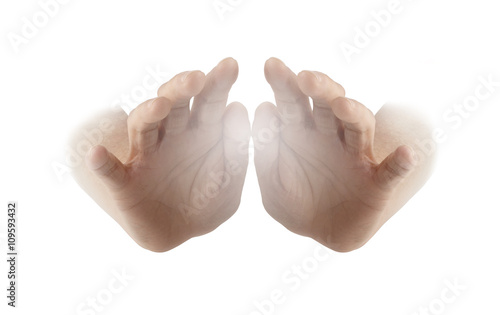 Photo  Healing Hands on white background - female hands with palms facing outwards and