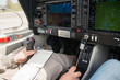 Control stick and flight instruments in airplane