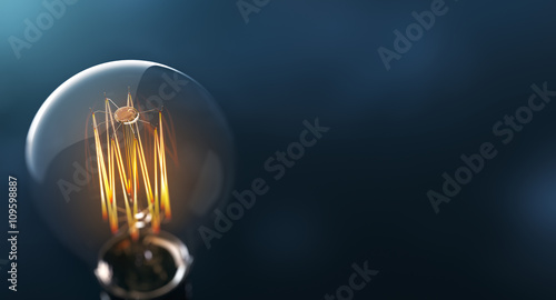 Photo  Glowing Edison light bulb