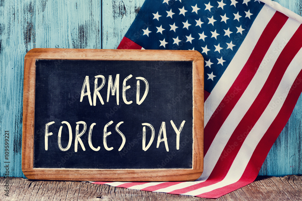 Fototapeta text armed forces day and flag of the United States