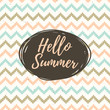 Hello summer lettering with ethnic pattern.