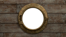 Ship's Port Hole An Old Fashioned Ship's Porthole In Brass, Set On Rustic Wooden Boards. The Center Of The Image Is Isolated For Custom Use.