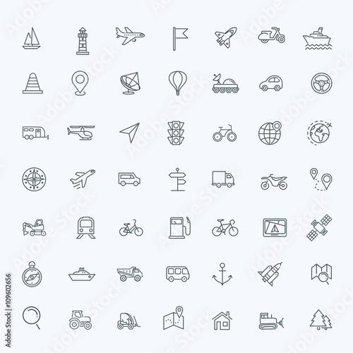 Fotografie, Obraz  Outline web icons set - navigation