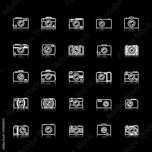 Keuken foto achterwand Retro Camera Icons Set - Isolated On Black Background - Vector Illustration, Graphic Design. Thin Line