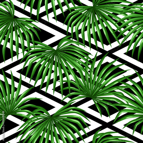 Ingelijste posters Tropische Bladeren Seamless pattern with palms leaves. Decorative image tropical leaf of palm tree Livistona Rotundifolia. Background made without clipping mask. Easy to use for backdrop, textile, wrapping paper