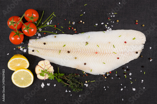Fresh halibut fillet. Fototapeta