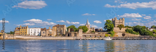 View to historical Rochester across river Medway Canvas Print