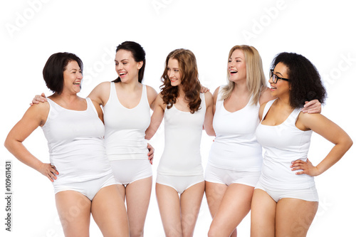 8d4e4c270d8 group of happy different women in white underwear - Buy this stock ...