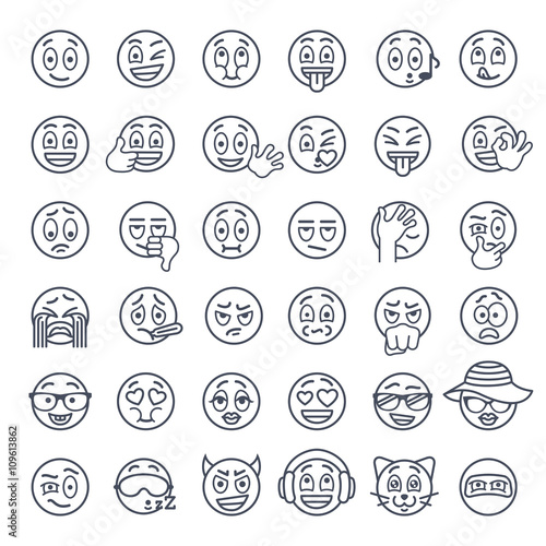 Smiley face thin lines flat vector icons set Poster