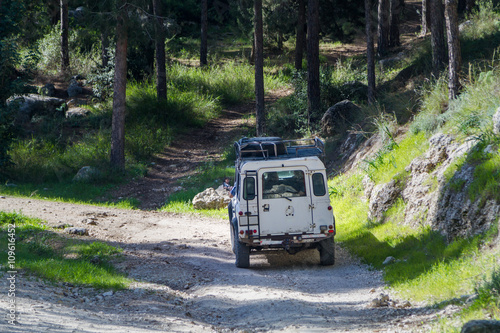Photo  SUV rides on the country road in forest, Israel