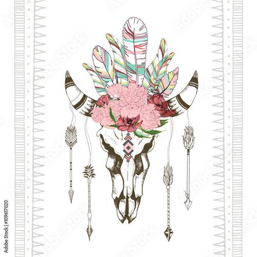 wektor-moda-styl-chick-boho-koza-czaszki-z-kwiatow-wieniec-z-pior-i-strzaly