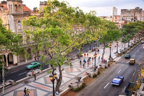 Poster de jardin Havana Aerial view of Paseo del Prado, Havana, Cuba