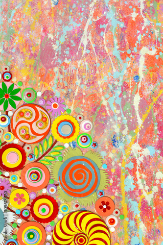 Abstract colourful art, acrylic art painting on canvas, 3d