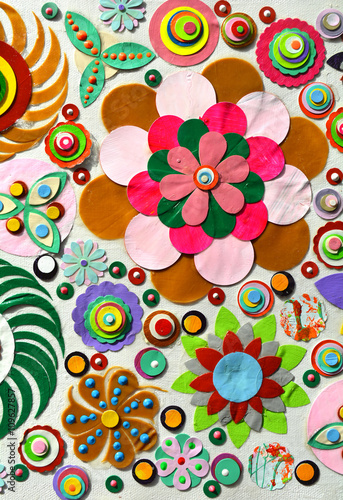 Abstract Background Of Flowers Close Up Grunge Acrylic