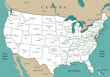 USA Map With States And Major ...