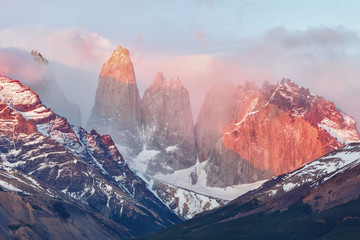 Lighting of the Torres del Paine at sunrise, Chile