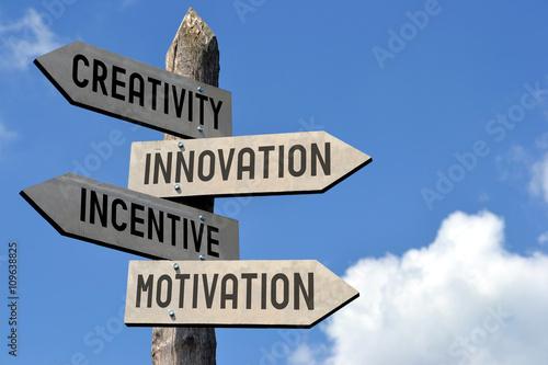 Fotografie, Obraz  Creativity, innovation, incentive, motivation signpost