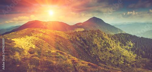 Beautiful panoramic mountain landscape at sunset. #109638889