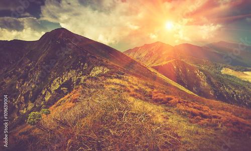 Beautiful panoramic mountain landscape at sunset. #109639004