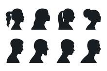 Profile  Woman And Man Silhouette Portrait