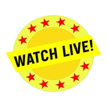 WATCH LIVE Black Wording On Yellow Rectangle And Circle Yellow Stars