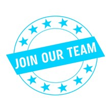 Join Our Team White Wording On Blue Rectangle And Circle Blue Stars
