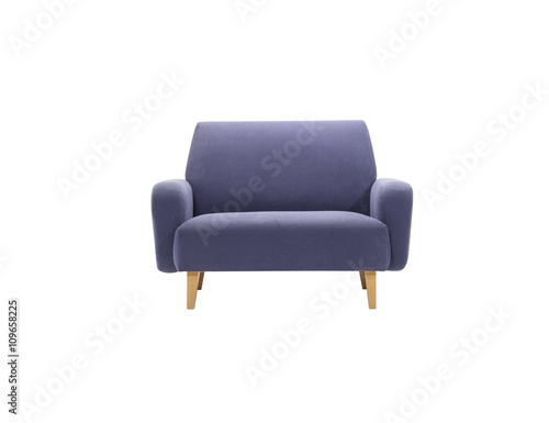 Fotografie, Obraz  Blue armchair isolated with clipping mask, front view.