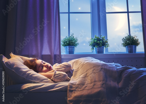 girl sleeping in the bed Canvas Print