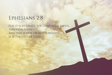 Ephesians 2:8 Vintage Bible Verse Background On One Cross On A H
