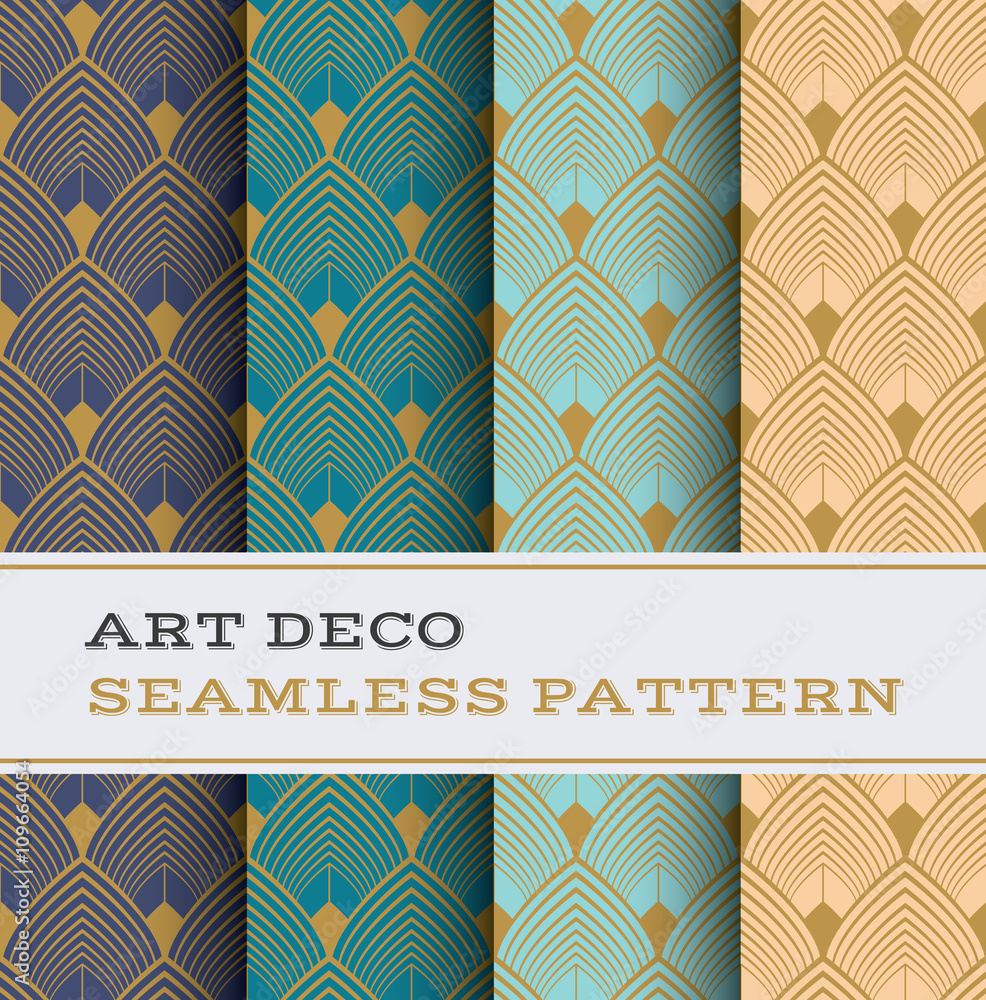 Art Deco seamless pattern with 4 colours background 03