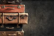 Vintage Ancient Suitcases Tower Concept Travel
