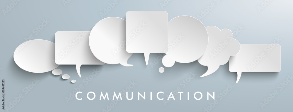 Fototapeta White Paper Speech Balloons Communication Header