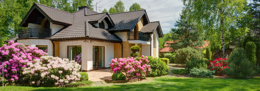 Fototapety, obrazy: House with beautiful garden
