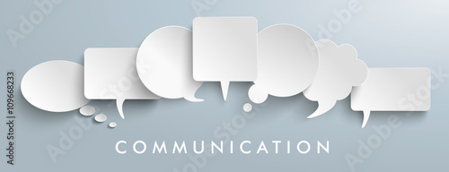 Photo White Paper Speech Balloons Communication Header