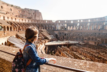 Young Girl With Backpack Exploring Inside The Colosseum (Coliseum)