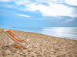 beach chair on tropical white sand