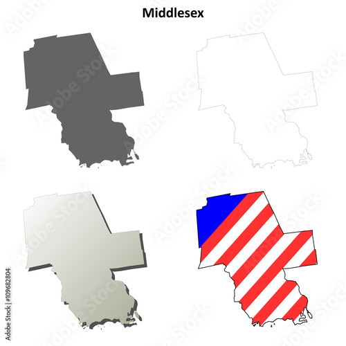 Photo  Middlesex County, Connecticut outline map set
