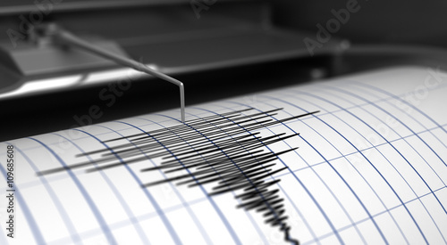 Canvas Print Seismograph and earthquake